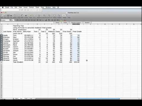 Teaching Tip: Using Excel Spreadsheets to calculate final grades