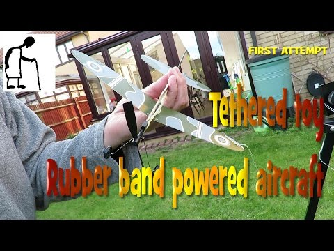 Tethered toy rubber band powered aircraft FIRST ATTEMPT
