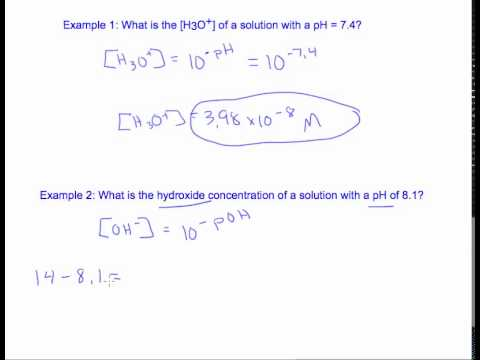 13.5 Calculating Concentration from pH or pOH