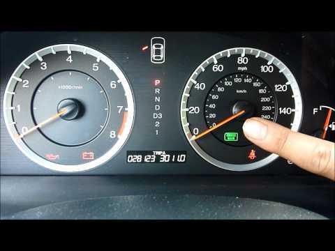 Honda Accord 2008 - Maintenance Minder - Oil Indicator Light reset back to 100% 2011 2012 2013