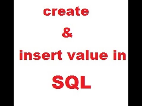 How can you create and insert value  in SQL table
