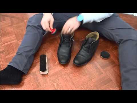 Repairing Scuffed Boots With Shoe Polish And A Brush