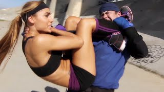 This is a fight scene from our first, full-length martial arts action feature film.  A Kung Fu & MMA girl takes on a Karate black belt in this fight scene.  The characters in this fight were inspired by various video games including Tekken, Dead or Alive, Mortal Kombat, Double Dragon, etc.  Watch the full movie here: http://youtu.be/bX9bGA1jcns  Subscribe to our channel for more action movies at: http://www.youtube.com/whirlwindaction  Original music by Obsidia: http://www.youtube.com/obsidiamedia