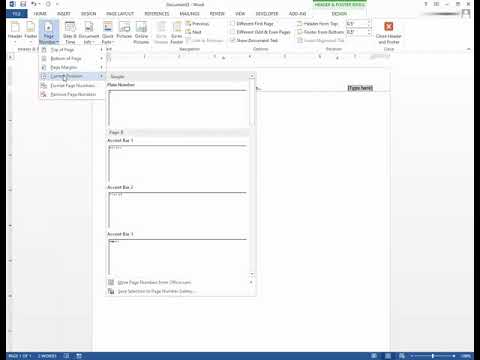 Microsoft Word - Centered Header with Right Justified Page Numbers on Same Line