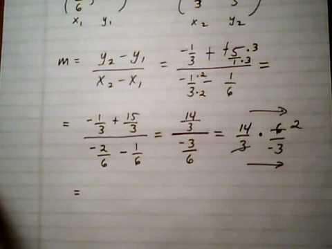 find slope of line given two points with fractions