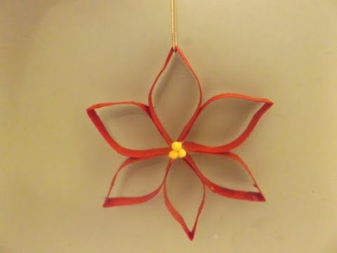 Make a Christmas poinsettia from a toilet paper roll