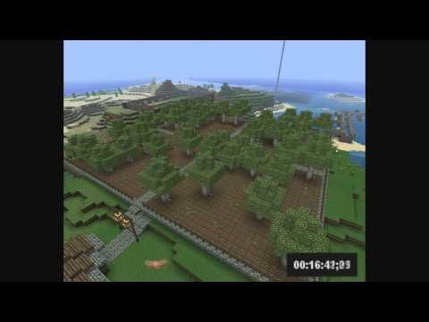 Minecraft Tree farm Growing 100 saplings - Timelapse