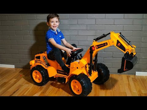 Kid Unboxing Assembling Power Wheels ride on Tractor Excavator for kids Funny toys video for kids