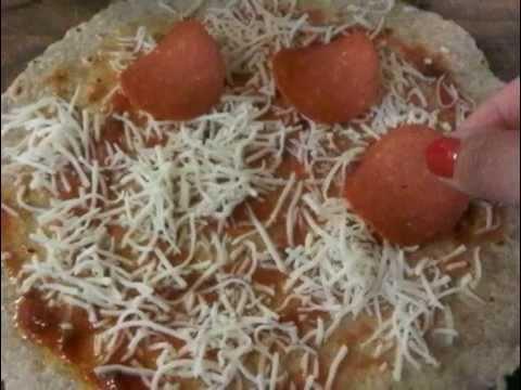 Low fat pizza using a tortilla:)