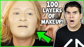 100 Layers Of Makeup! (REACTION)