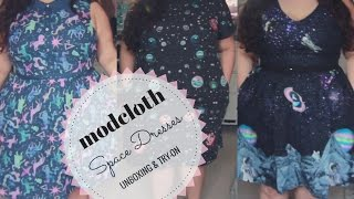 MODCLOTH SPACE DRESSES   Unboxing & Try On!