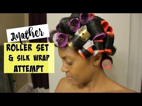 Roller Set + Silk Wrap Attempt #2 on Natural Hair