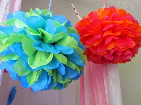 Just for fun! DIY How to make Tissue Paper Pom Poms for Party or Wedding Decoration