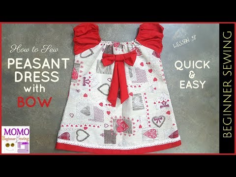 How to Sew: Peasant Dress with Bow - Beginners Sewing Lesson 38