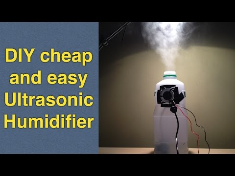 Homemade humidifier DIY using cheap ultrasonic mist maker / fogger for less than 10$
