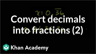 Converting Repeating Decimals To Fractions 2 Linear Equations Algebra