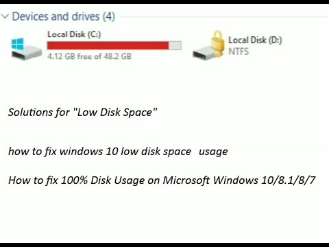 how to fix windows 10 low disk space usage