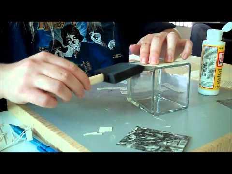 Candle Holder Modge Podge Craft