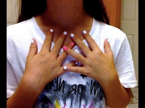 Getting my nails done (white and neon pink)