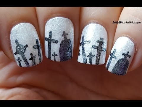 Shiny HALLOWEEN NAILS / Black & White Nail Art With Crosses