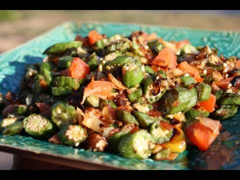 Fried Okra With Salted Cod.