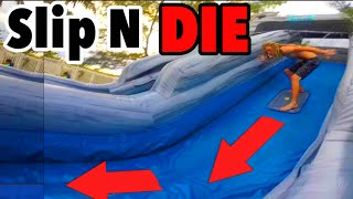 Insane 50 Foot SLIP N DIE!!! Save STEVE-O