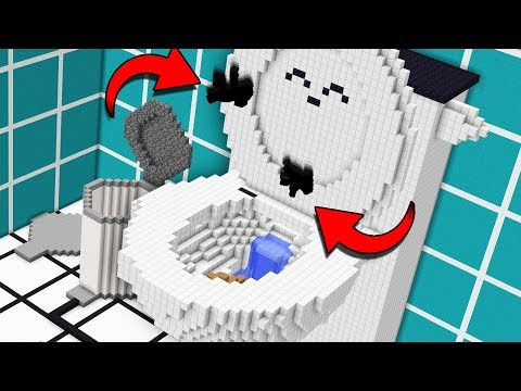 Getting flushed down a giant minecraft toilet