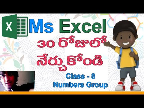 Ms Excel in Telugu | Telugu Ms Excel Classes | Class - 8 |✨| Number Group