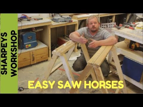 Simple folding saw horses out of pallet and scrap wood