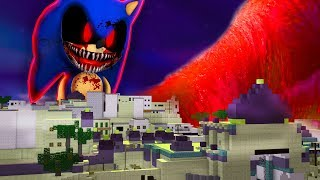 TSUNAMI OF SCARY SONIC.EXE IN MINECRAFT | CHALLENGE BASE VS TSUNAMI IN MINECRAFT
