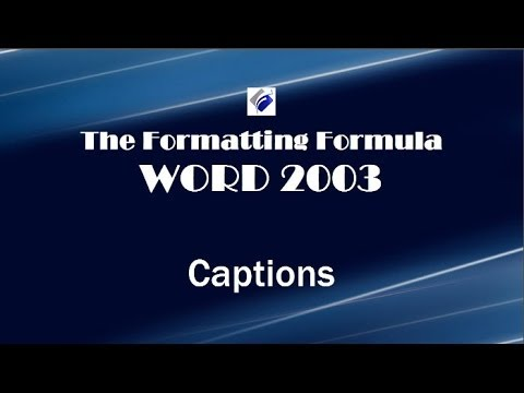 Word 2003   Captions with Heading Numbering