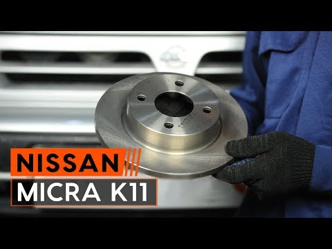 How to replace front brake discs and front brake pads set onNISSAN MICRA 2 [TUTORIAL AUTODOC]
