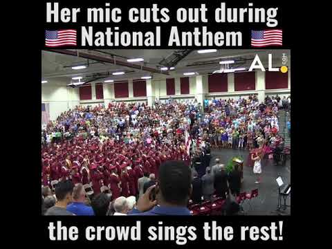 Watch the crowd finish the National Anthem after the mic cuts out