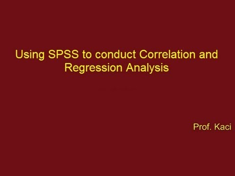 Statistics: Correlation and Regression Analysis in SPSS