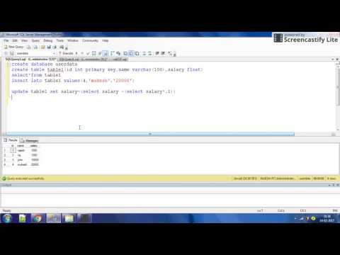 how to update salary by 10% or 5%  using sql ?video by intelligent programming.
