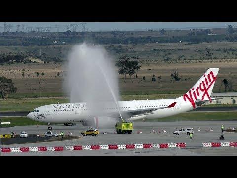 A Water Cannon Salute greets Virgin Australia's first flight to Hong Kong