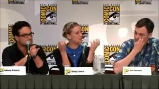 Jim mocking mayim bialek and Kaley and melissa rauch comic-con 201l
