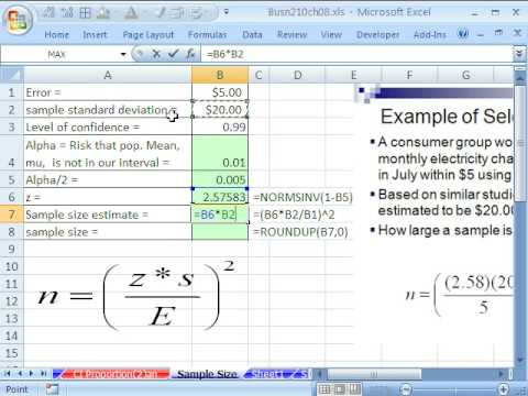 Excel Statistics 87: Sample Size for Confidence Intervals