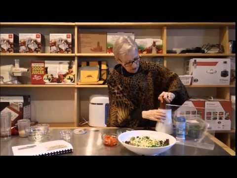 Judy Fleming prepares Zuchinni Spaghetti Salad Recipe,Hallelujah Diet Canada
