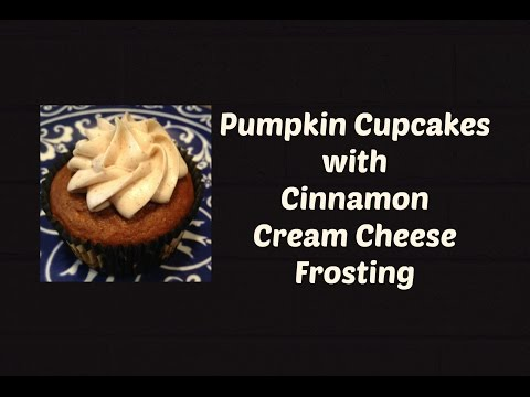 Pumpkin Cupcakes with Cinnamon Cream Cheese Frosting (using box cake mix)