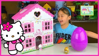 Hailey opens a golden Kinder surprise egg and giant purple egg surprise toys plus her and her daddy build a big Hello Kitty doll house! The golden egg surprise has a cute baby inside for Hello Kitty to take care of while the big surprise eggs toys opening Frozen Anna Disney Princess, Palace Pets, Shopkins and Sanrio Hello Kitty toy surprises was a lot of fun. Anna from the Frozen animation stops by in this Hello Kitty surprise toys video by Hailey