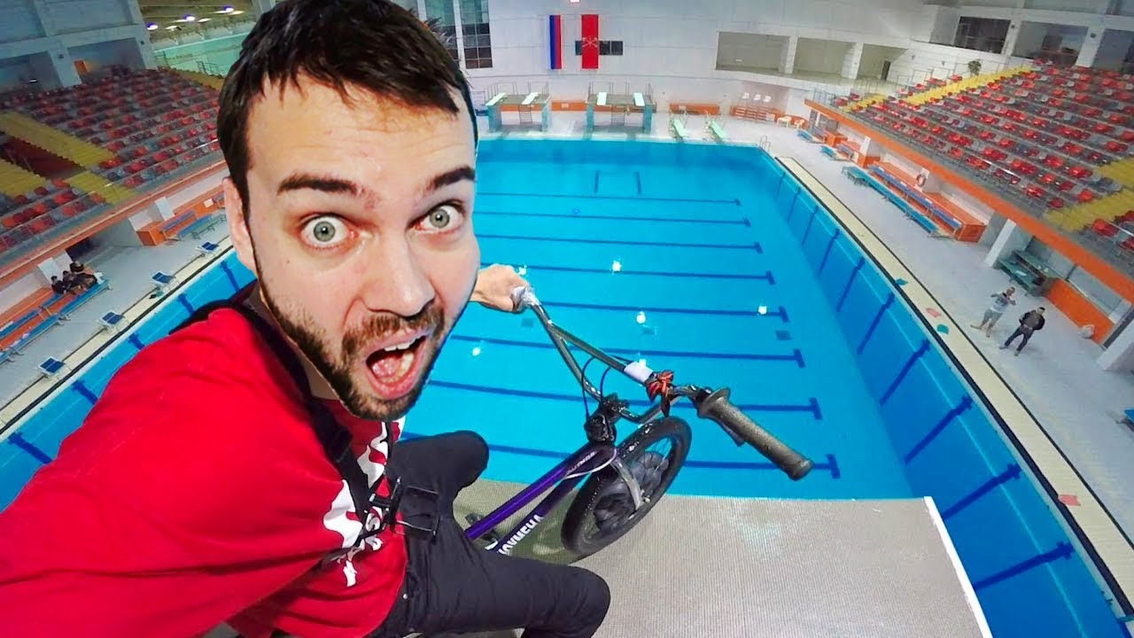 BMX vs. Olympic height (33 ft.) | Bicycle tricks and FAILS at the swimming pool
