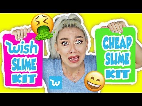 TESTING WISH SLIME KITS! CHEAP $1 SLIME KITS! WORST SLIME KITS EVER?!