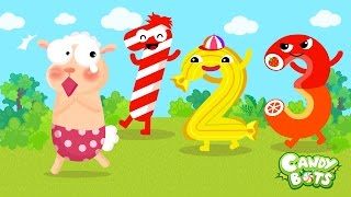 Candy Numbers 123 Video Cartoon Part 1/2 (Candybots) - Learn 1 to 10 Number for Kids
