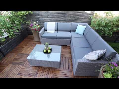 Grey wicker corner set with waterproof cushions