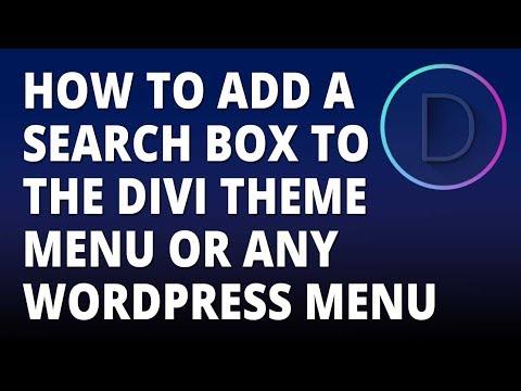Divi – Add a Search Box to the Divi Theme Menu or Any WordPress Theme Menu