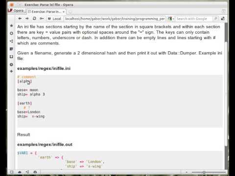 Beginner Perl Maven tutorial: 10.22 - Exercise: parse INI file