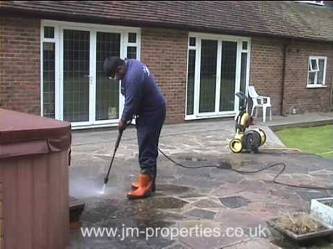 Jet washing with Karcher pressure washer for stone, tile, b