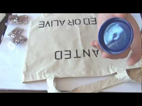 DIY Crystal Encrusted Pink Mustache Canvas Bag