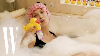 Bella Hadid Relaxes at Home with a Bubble Bath, Jenga, and Pizza | W Magazine